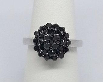 1.00ctw Black Diamond Cluster Sterling Silver Ring sz 7