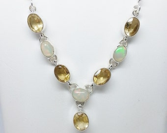 11.30ctw Opal and Citrine Sterling Silver Necklace