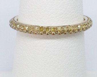 Yellow Diamond .80ctw Round 10k Yellow Gold Eternity Band Size 6