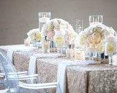 high end luxury sequin tablecloths for the ultimate wedding or event - champagne, blush, nude, white, black, gold and many more!