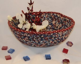 Americana, Maroon, Cream and Blue coiled fabric bowl/basket