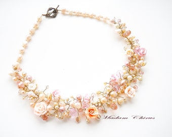 Original necklace,Necklace with flowers, a necklace with pearls,necklaces wedding, Necklaces handmade