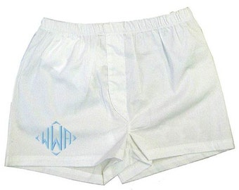 Monogrammed Baby Boy Boxers Diaper Cover Shorts Boys Initial Gift