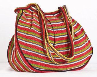 Nepal Woven Round Slouch Purse Bag Tote