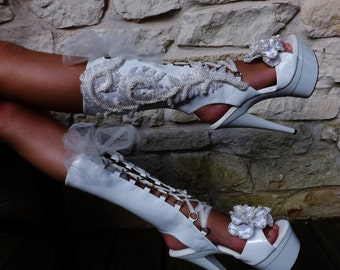 Wedding Heavy Beaded Open Toe Heel Lace Up Embroidered Platform Stilletos Mid-calf Boots Shoes