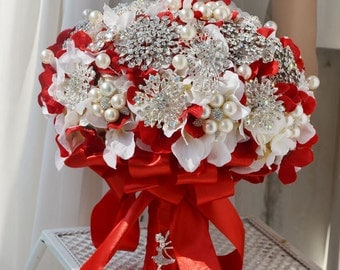 wedding bouquet brooch bouquet, hydrangea, red and white, jewery