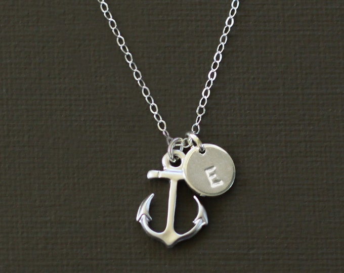 Silver Anchor Initial Necklace - Sterling Silver Chain
