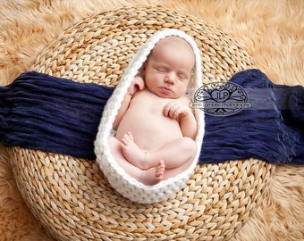 MADE TO ORDER, Newborn Crochet Nesting Bowl Cocoon, photo prop
