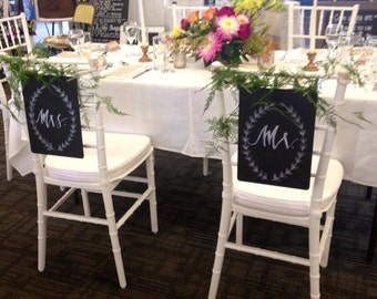 Mr and Mrs Chair Chalkboard Signs.