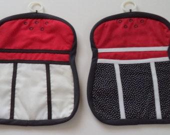 set of salt and pepper shaped potholders / trivets