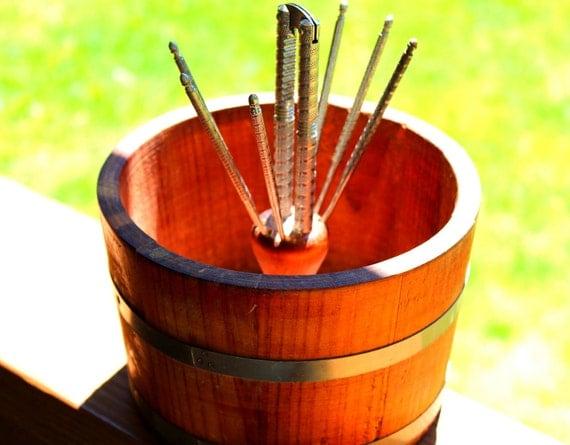 Vintage nut bowl wood bowl nutcracker and picks barrel bowl candy bowl