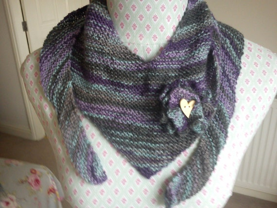 Handknitted Wool Women's Luxury Scarf and Corsage Set Original Design