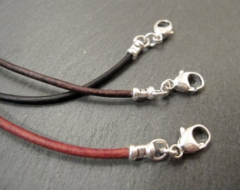"Premium Leather Cord Necklace Rustic Red, Brown Cocoa, Charcoal Black 16"" 18"" 20"" Handmade Artisan Jewelry"