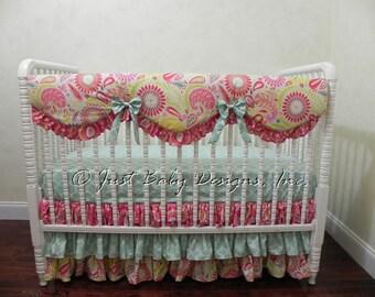 Baby Girl Crib Bedding Set Nadia - Baby Girl Bedding, Kumari Garden Bumperless Crib Bedding with Scalloped Crib Rail Cover