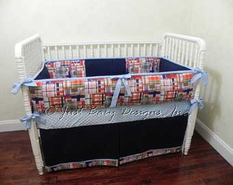 Custom Baby Bedding Set Jake - Baby Boy Bedding, Nautical Baby Bedding, Multi - Colored Plaid with Navy and Light Blue