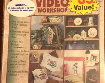 VIDEO WORKSHOP - Plaid Folk Art one Stroke - Learning To Paint, Antique Rose, Yellow Cabbage Rose, Full Bloom Cabbage Rose, Longstem Rose