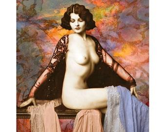 Nude burlesque, 1920 s vintage goddess, photomontage, digital print, 1920 s nude, digital art, art deco, modern art, fine art, wall art