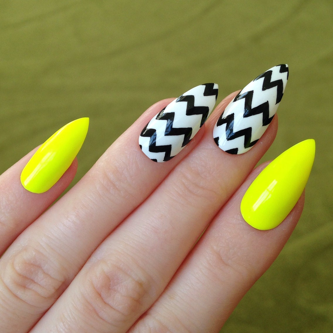 Yellow Chevron Stiletto Nails