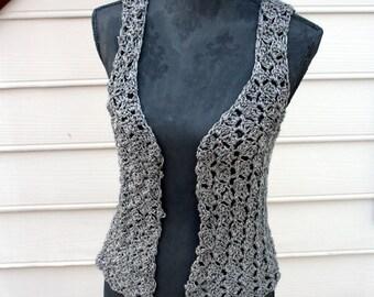 Hand Crocheted Trendy Dark Gray Metallic Vest size Extra Small