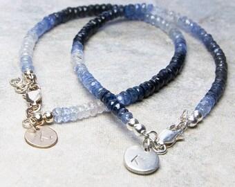 Blue Sapphire Array Bracelet, Sapphire Bracelet. Initial Stamped. Personalized Jewelry, September Birthstone. Birthstone Jewelry