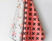 Pink Plus and Bird Burp Cloths