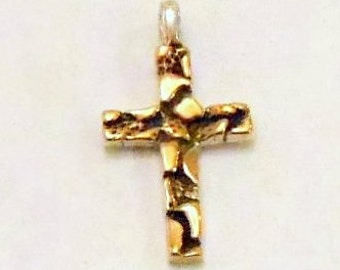 Golden Nugget Cross Pendant