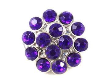 Purple - Set of 3 Acrylic 25mm Rhinestone Cluster Buttons - AB-131
