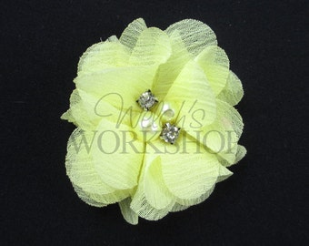 "Light Yellow - Set of 3 Petite 2"" Chiffon Flowers w/ Pearl Rhinestone Centers - PPR-023"