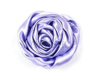 "Lavender - Set of 3 Large 3"" Rolled Satin Flowers - RSF-018"