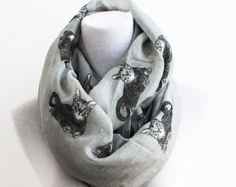 Gray Cat Scarf, Cat Infinity Scarf, Kitty Scarf, Fall Scarf, Winter Scarf, Christmas Gift, For Her, Womens Scarves, For Women, For Mom