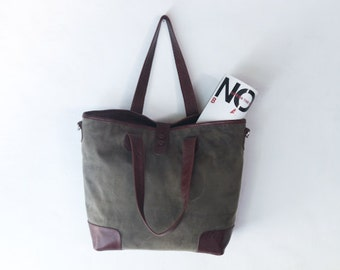 waxed canvas tote bag - Hand waxed with genuine leather reinforcements