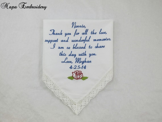 Grandmother Wedding Gift: WEDDING GIFTS For GRANDMA Embroidered Handkerchief Great For