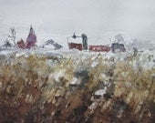 Red Farmhouse-ORIGINAL Watercolor Painting--Farmland-Country Painting-not a print-5x7