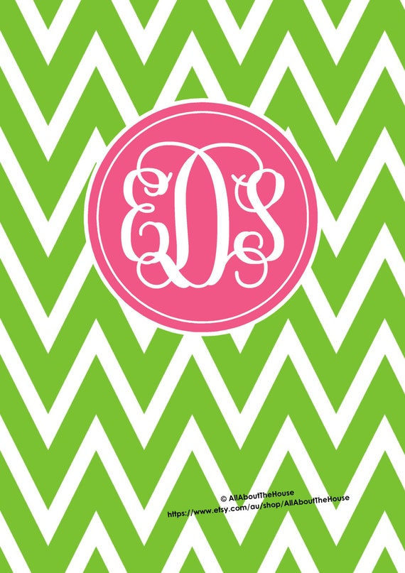 Printable Binder Covers Monogram Binder Cover & Spine Chevron