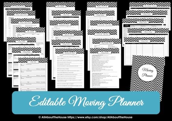 Black editable moving planner checklist binder printable chevron il570xn maxwellsz