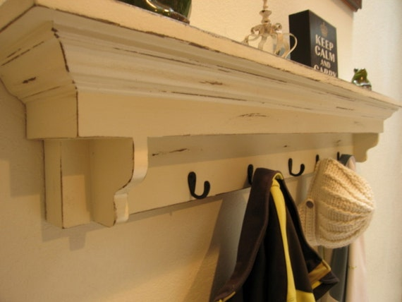 Coat Hook Shelf In Antique White Entryway Shelf With Hooks