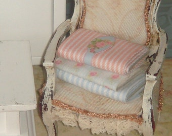 Dollhouse bundle of three pieces of fabric. 1:12 Dollhouse Miniature Sewing items.