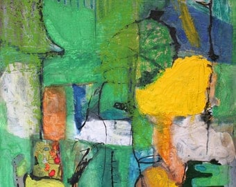 Original Abstract Painting, Acrylic Collage on Board Signed, Green, Yellow, Blues Mixed Media