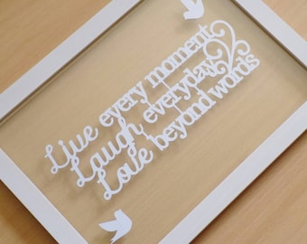 Handcut 'live, laugh, love' papercut quote in an a4 floating frame