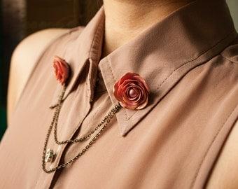 rose collar tips, collar brooch, handmade rose