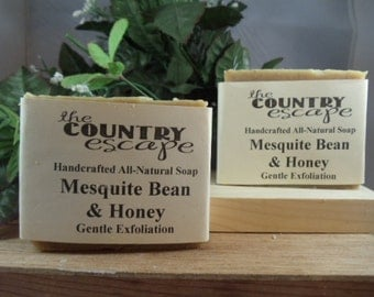 Mesquite Bean and Honey Olive Oil Soap -Handcrafted -All Natural Vegan -with Colliodal Oatmeal and Shea Butter - Paraben Free
