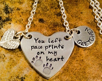 Pet Memorial Necklace, Loss Of Pet Necklace, You Left Paw Prints On My Heart Necklace, Aluminum Jewelry