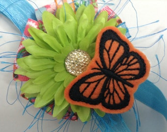 Clearance, Clearance sale, Clearance item, Baby headband, Summer headband, Butterfly wings, Butterfly, Fabric flowers, Wedding fascinator