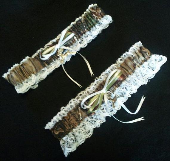 Hunting Deer Camo Camouflage Realtree Wedding Garter Belt Set
