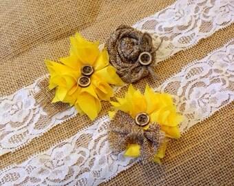 Sunflower Garter, Sunflower Garter set, yellow garter, burlap garter, sunflower, the heritage bride, rustic wedding garter, bridal garter