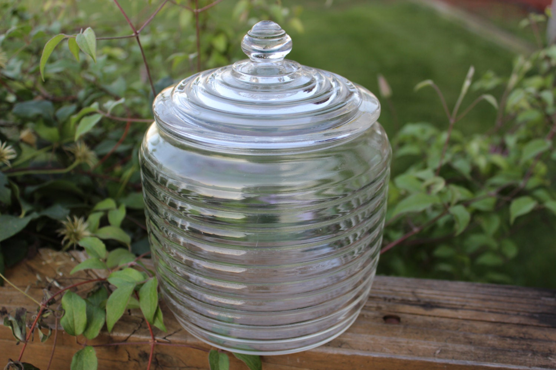 Vintage beehive clear glass jar with lid great for storage - Beehive cookie jar ...