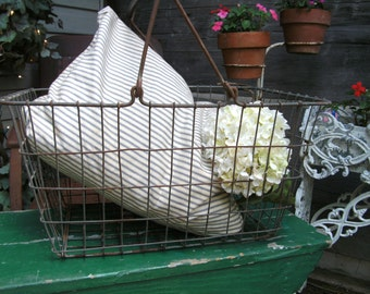 Large Vintage Metal Basket Romantic Prairie