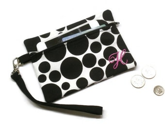 Monogrammed wristlet, black and white dots, personalized wallet, monogrammed clutch, phone purse, coin purse, under 20 gift, phone wallet