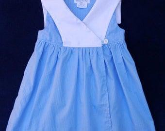 Blue wrapover baby dress with white sailor collar - 3 years old