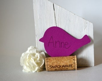 24  Plum Purple Paper Birds- Baby Showers, Weddings, Parties, Name Tags or Place Card name card wedding place setting